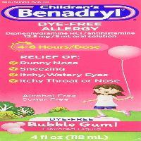 Children's Benadryl Dye-Free Allergy Liquid, Bubble Gum-Flavored, 4 Oz